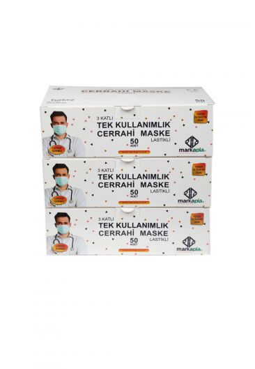 3 Layer Surgical Face Mask White 150 Pieces - Thumbnail