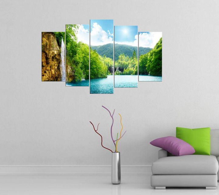 Sunny Nature View 5 Piece Mdf Painting