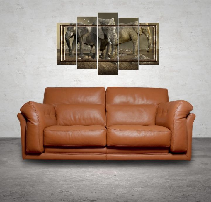 Elephant Themed 5 Piece Mdf Painting