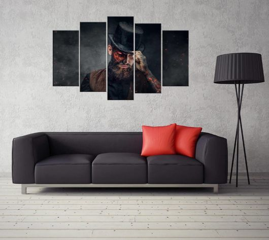 5 Piece Mdf Painting with Human Figure - Thumbnail