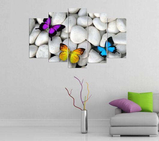 Красочная тематическая картина с бабочками из 5 частей Mdf - Thumbnail