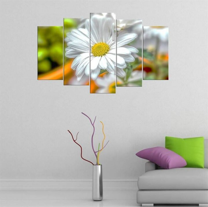 Daisy Themed 5 Piece Mdf Painting