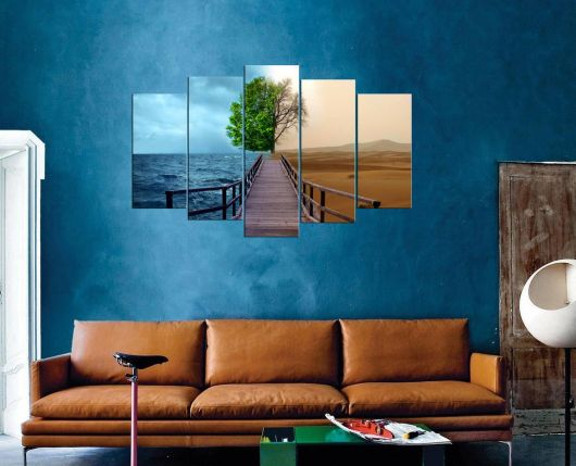 5 Piece Mdf Painting With Sea And Land View - Thumbnail
