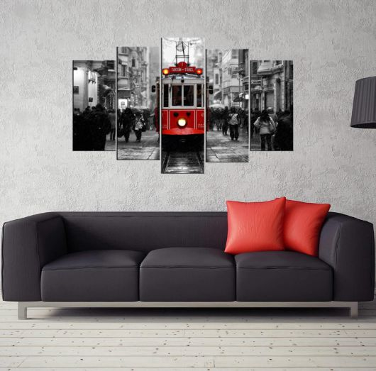 Taksim Tunnel 5 Pieces Mdf Painting - Thumbnail