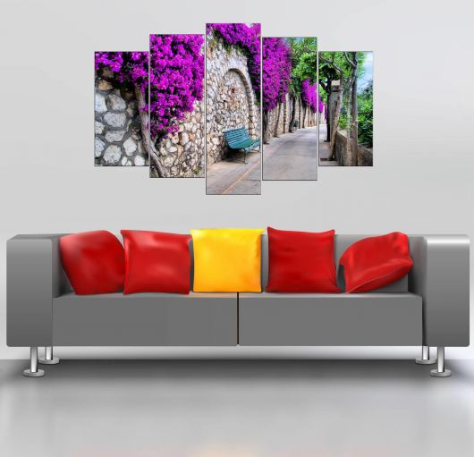 Purple Floral Bench 5 Pieces Mdf Painting - Thumbnail