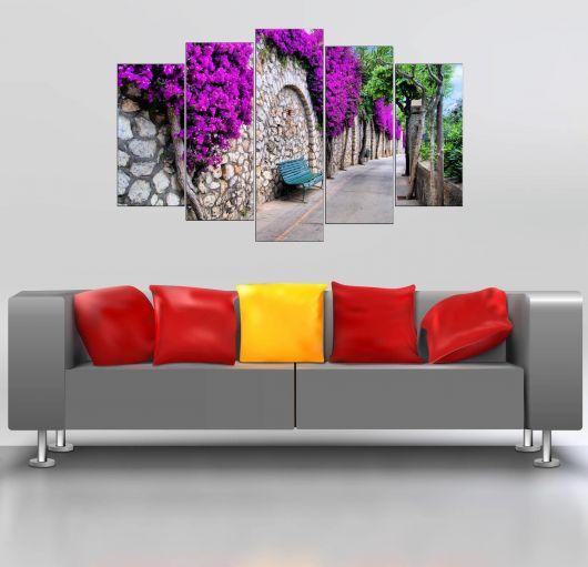 Фиолетовая цветочная скамейка 5 штук Mdf Painting - Thumbnail