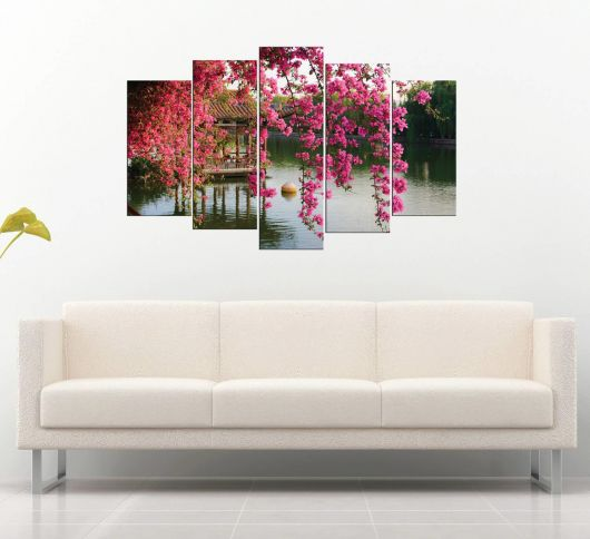 Цветочный вид на озеро 5 частей Mdf Painting - Thumbnail
