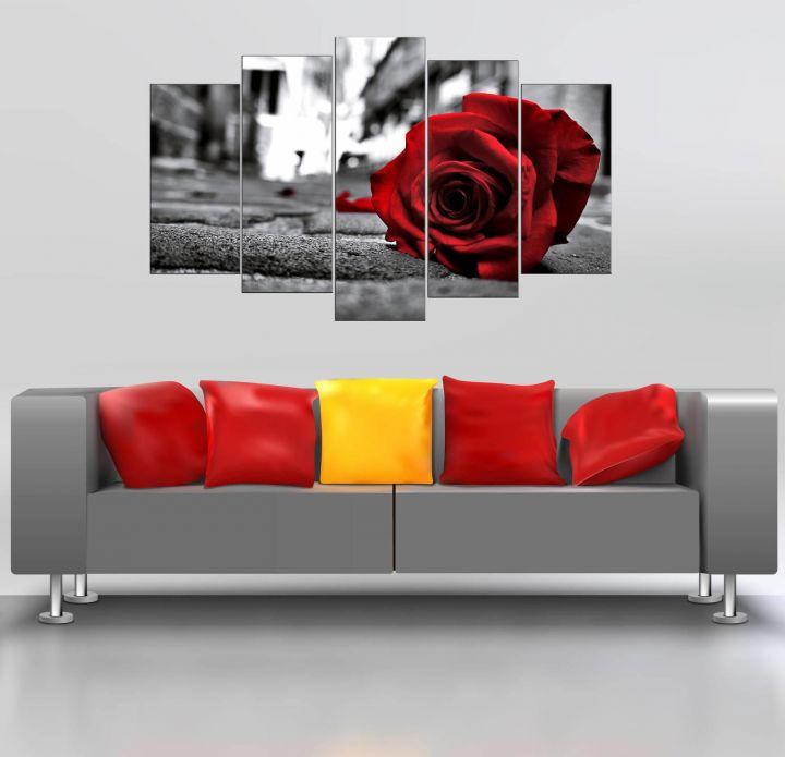 طاولة ام دي اف 5 قطع وردة حمراء