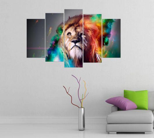 Renkli Aslan Temalı 5 Parçalı Mdf Tablo - Thumbnail