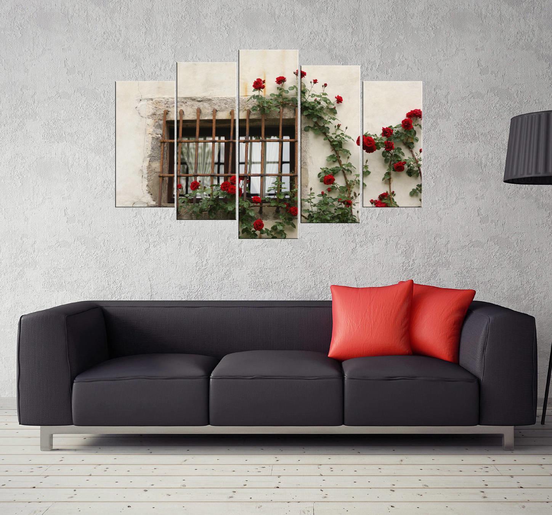 Çiçekli Pencere 5 Parçalı Mdf Tablo