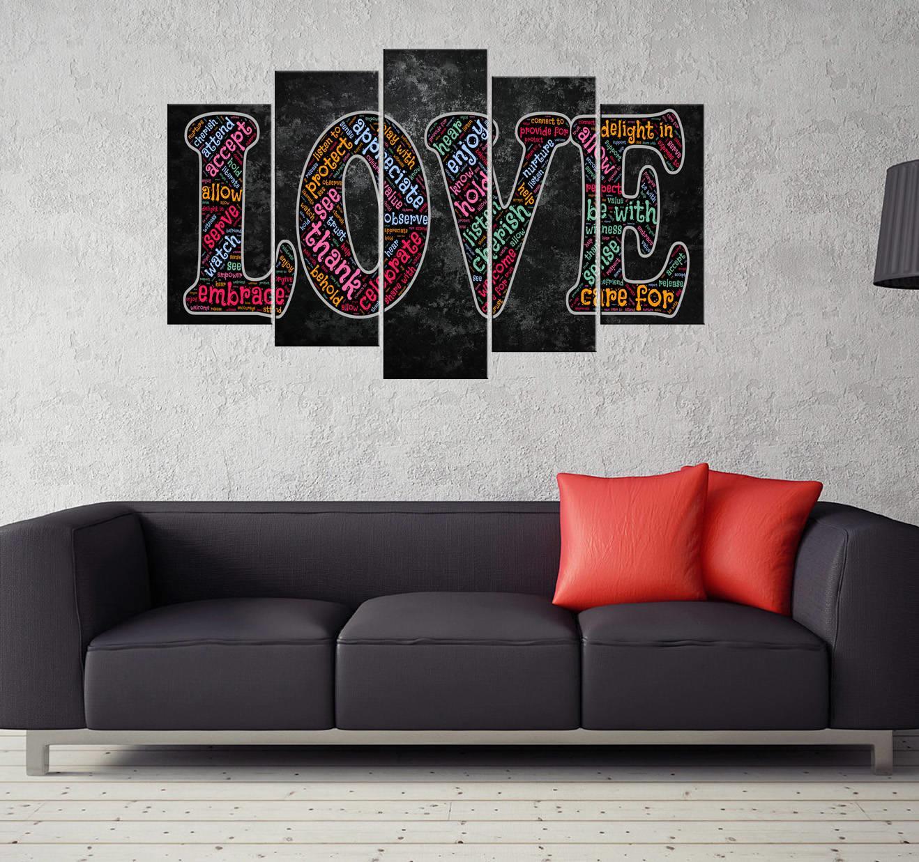 Love Yazılı 5 Parçalı Mdf Tablo