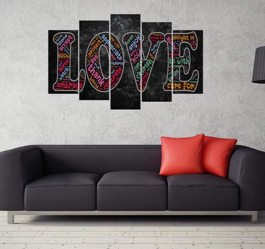 MARKAPIA HOME - LOVE YAZILI 5 PARÇALI MDF TABLO