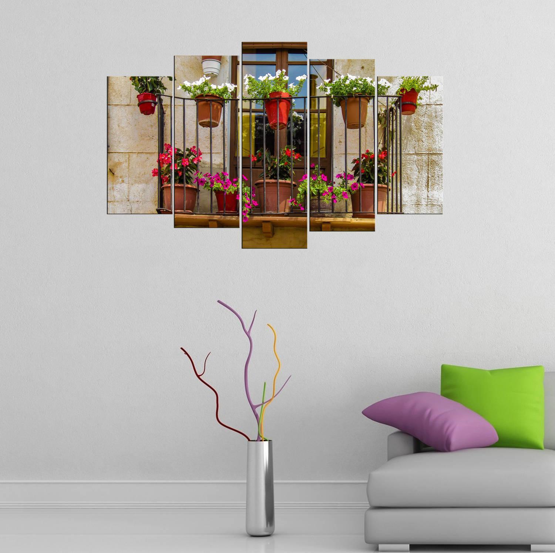 Çiçek Manzaralı Balkon 5 Parçalı Mdf Tablo