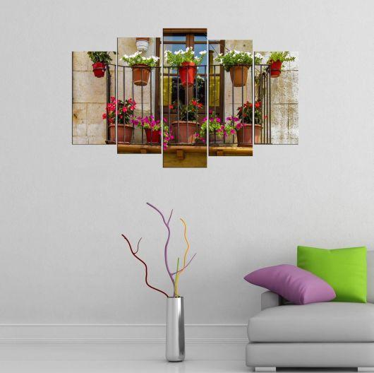 Çiçek Manzaralı Balkon 5 Parçalı Mdf Tablo - Thumbnail