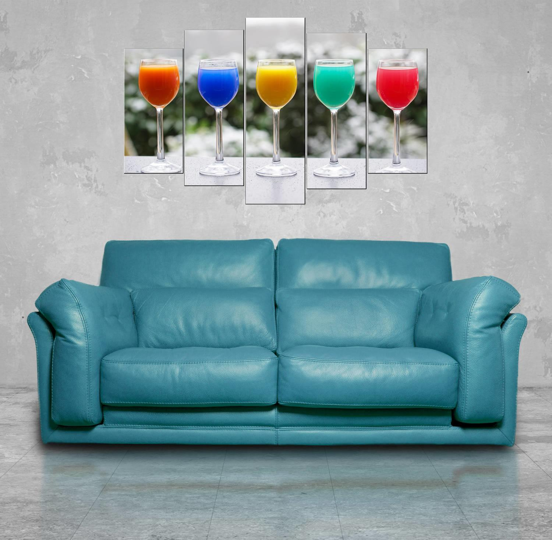 Renkli Bardaklar 5 Parçalı Mdf Tablo