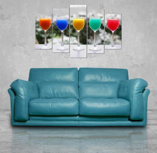 Renkli Bardaklar 5 Parçalı Mdf Tablo - Thumbnail