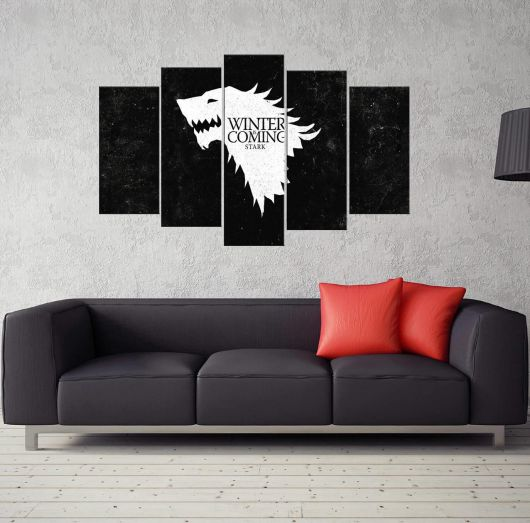 MARKAPIA HOME - WINTER IS COMING STARK 5 PARÇALI MDF TABLO