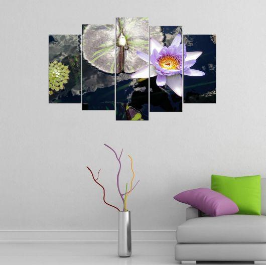 Mor Çiçek 5 Parçalı Mdf Tablo - Thumbnail
