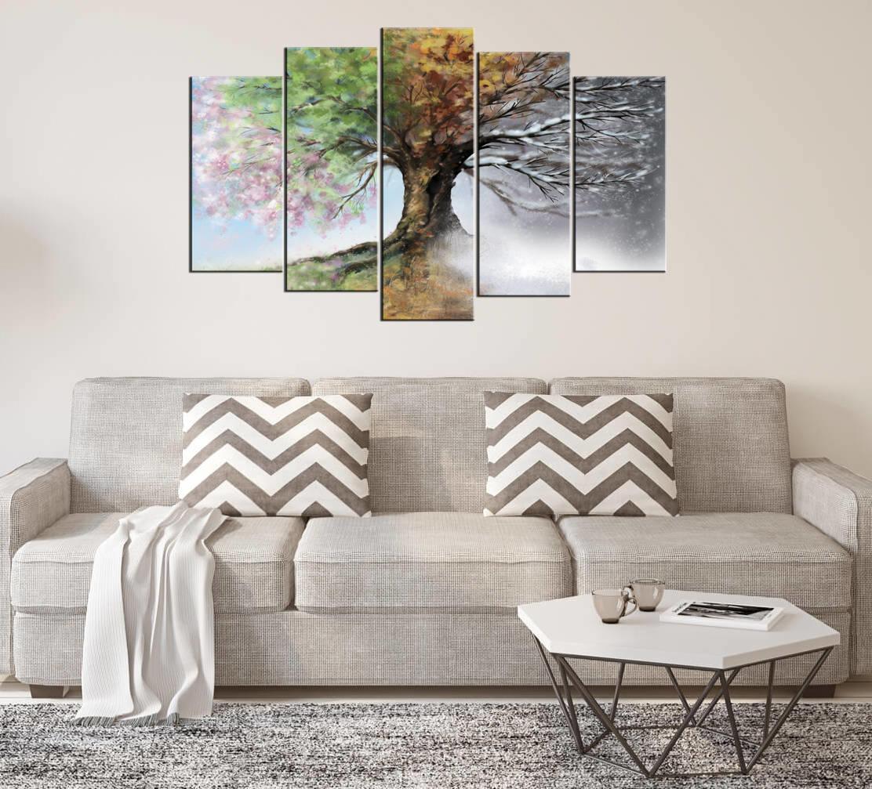 Ağaç Manzaralı 5 Parçalı Mdf Tablo