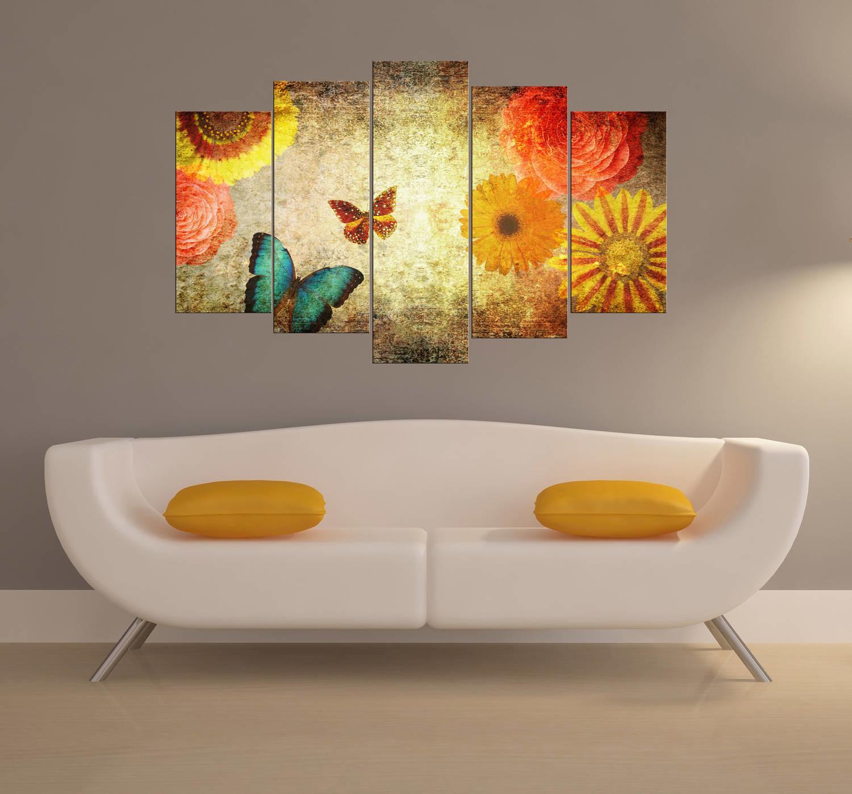 Kelebekler Ve Çiçekler 5 Parçalı Mdf Tablo
