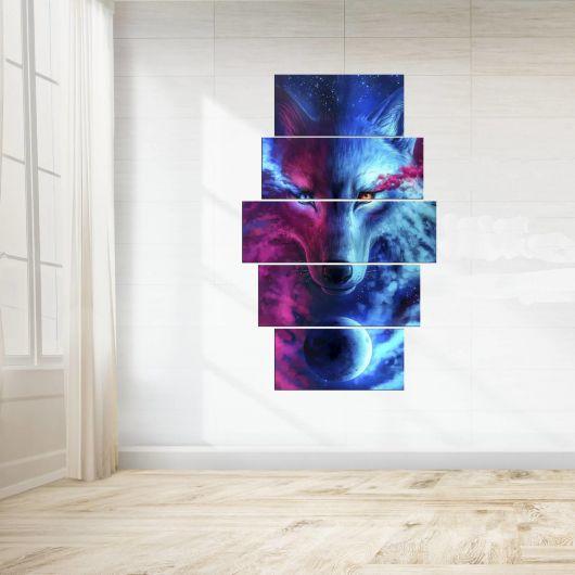 Renkli Kurt 5 Parçalı Mdf Tablo - Thumbnail