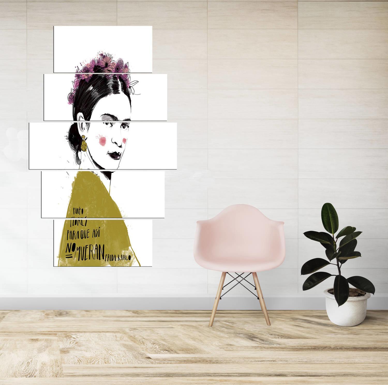 Frıda Kahlo 5 Parçalı Mdf Tablo