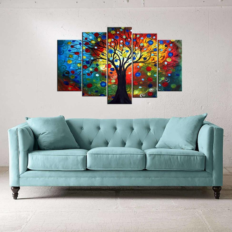 Renkli Ağaç Temalı 5 Parçalı Mdf Tablo