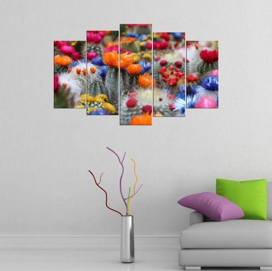 Renkli Çiçekler 5 Parçalı Mdf Tablo - Thumbnail