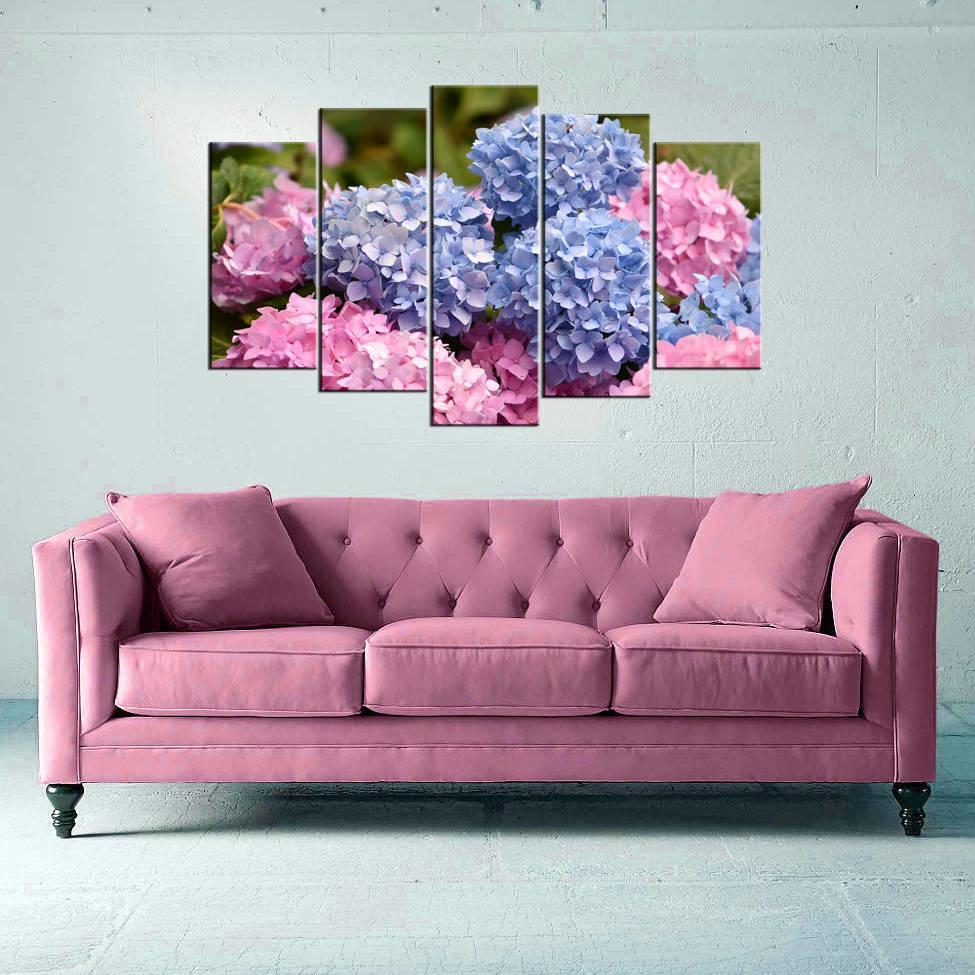Çiçek Temalı 5 Parçalı Mdf Tablo