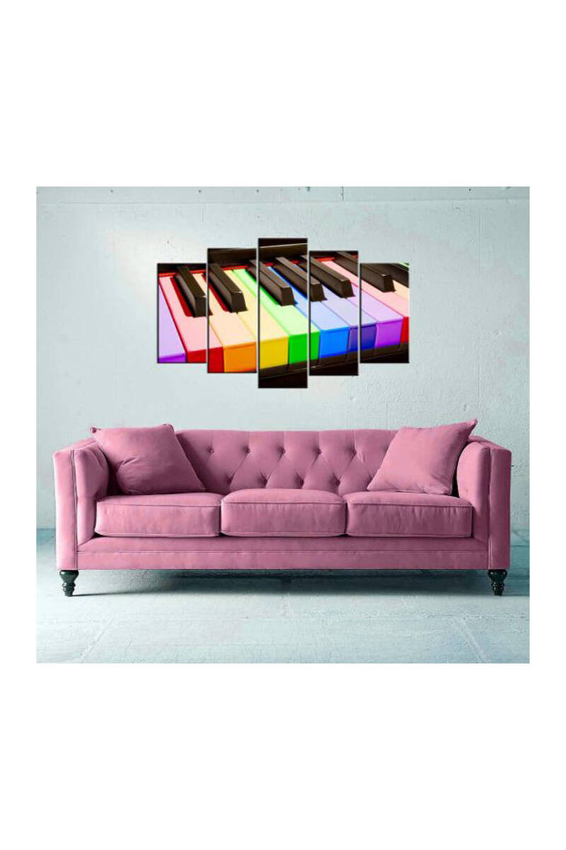 Renkli Piyano 5 Parçalı Mdf Tablo