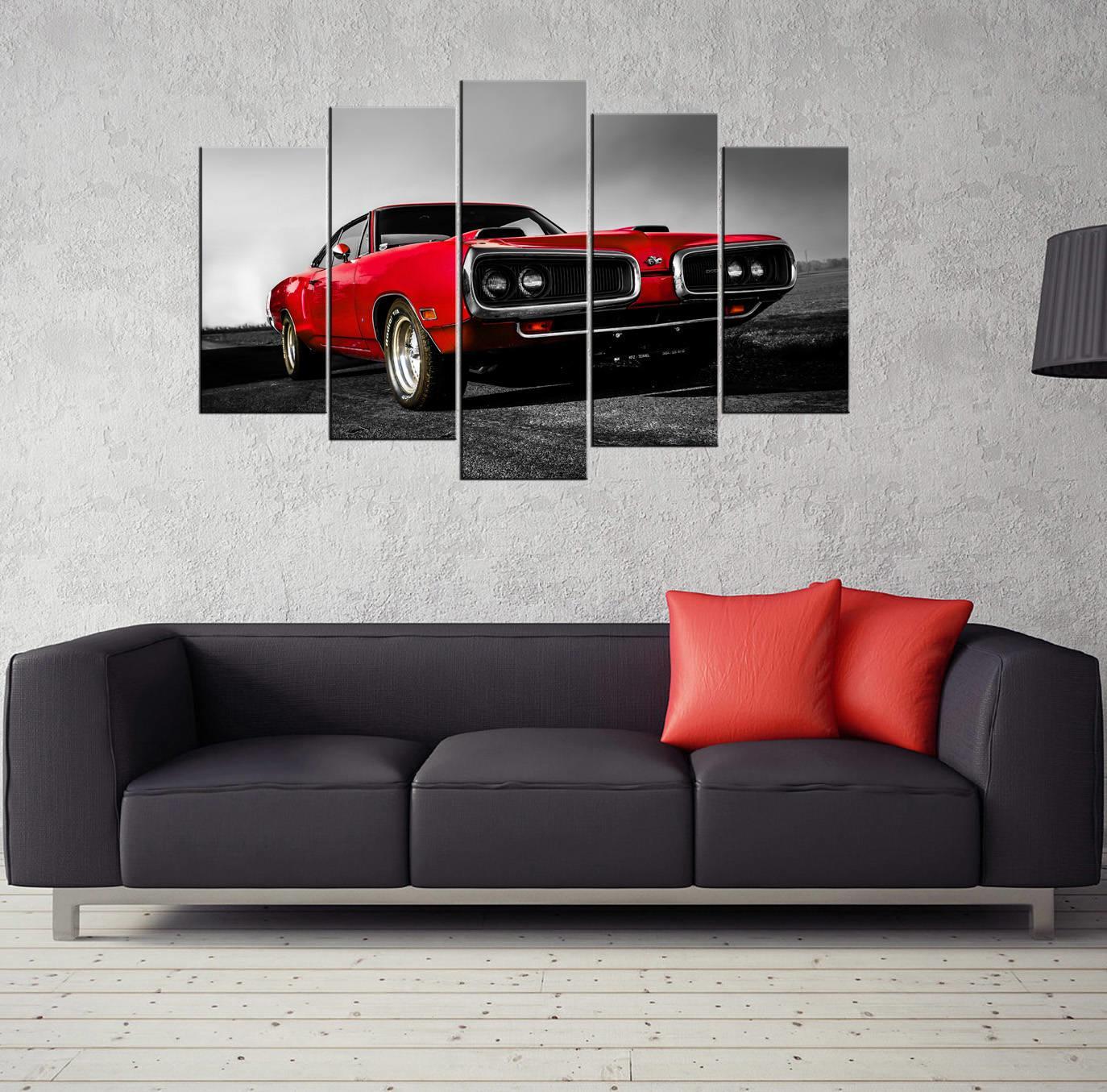 Kırmızı Araba 5 Parçalı Mdf Tablo