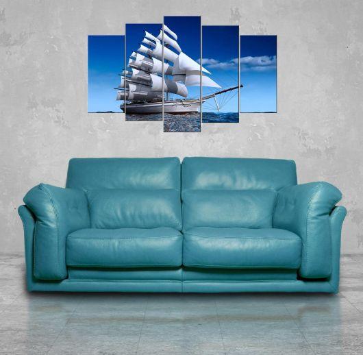 Gemi Manzaralı 5 Parçalı Mdf Tablo - Thumbnail