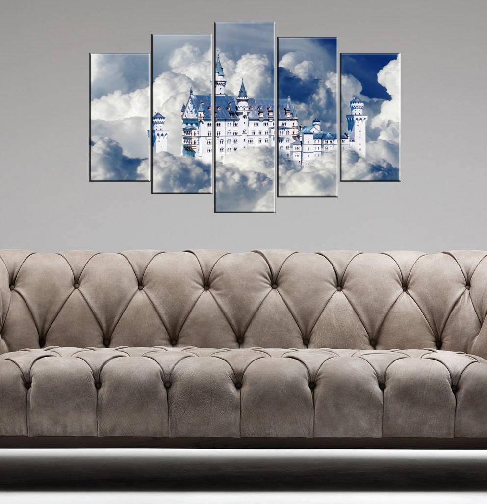 Bulut İçerisinde Ev 5 Parçalı Mdf Tablo