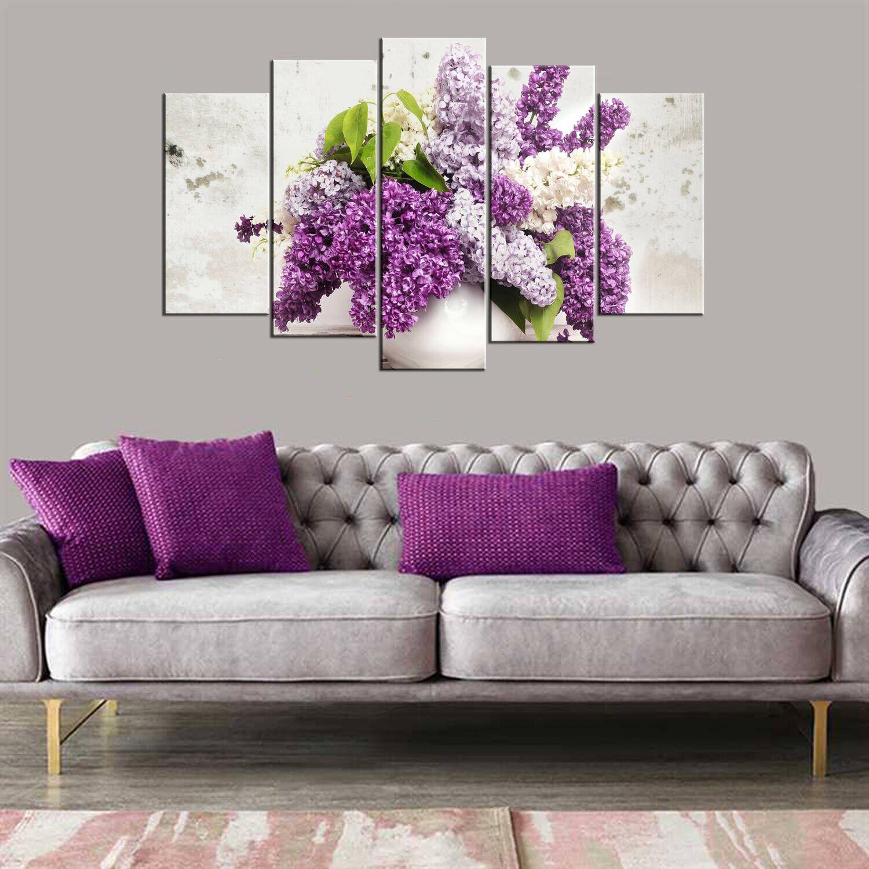 Цветочная тематическая картина из 5 частей Mdf