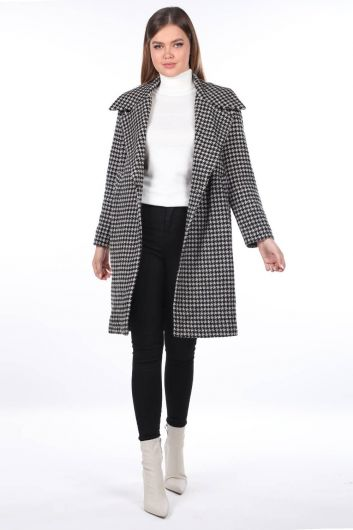 Houndstooth Patterned Coat - Thumbnail