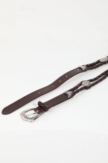 MARKAPIA - Женский горько-коричневый двойной плетеный пояс (1)