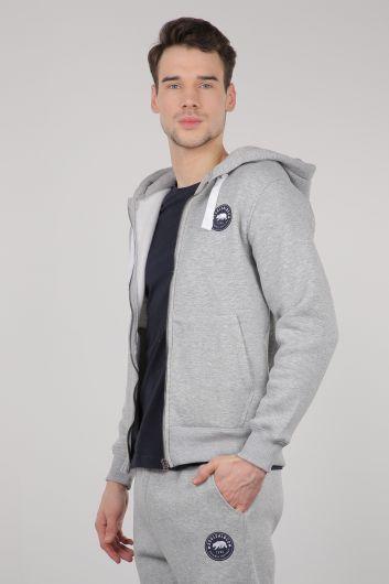 MARKAPIA - Light Gray Raised Zipper Hooded Men's Sweatshirt (1)