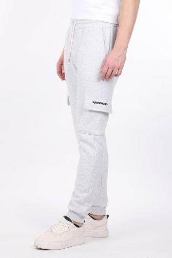 MARKAPIA - Light Gray Sheathed Cargo Pocket Men's Jogger Sweatpants (1)