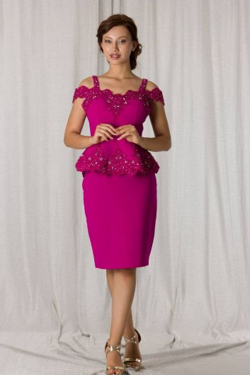 Lace-Up Fuchsia Suit Evening Dress - Thumbnail