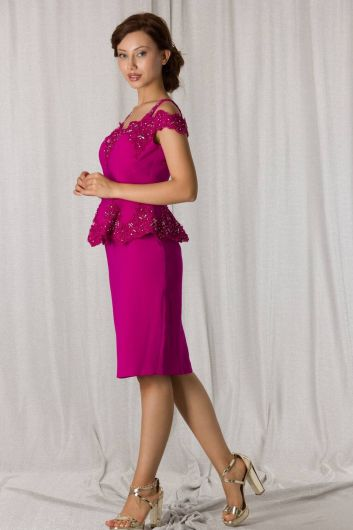 shecca - Lace-Up Fuchsia Suit Evening Dress (1)
