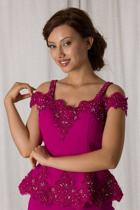 Lace-Up Fuchsia Suit Evening Dress