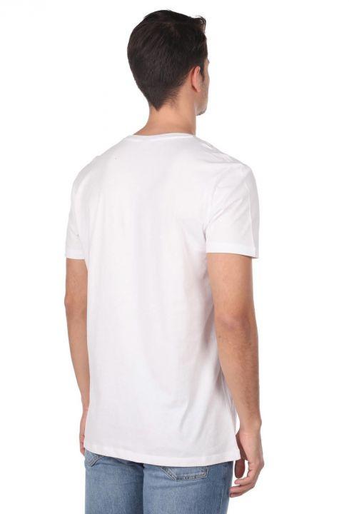 Alday Baskılı Erkek Beyaz Bisiklet Yaka T-Shirt