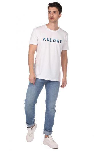 Белая мужская футболка с круглым вырезом с принтом Alday - Thumbnail