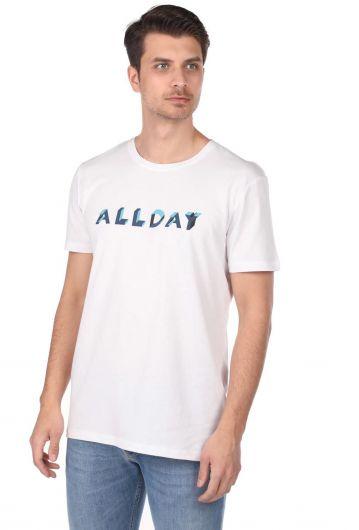 Allday Printed Men's White Crew Neck T-Shirt - Thumbnail