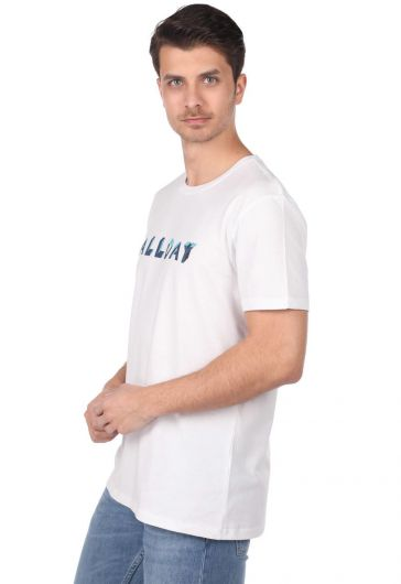 MARKAPIA MAN - Allday Printed Men's White Crew Neck T-Shirt (1)