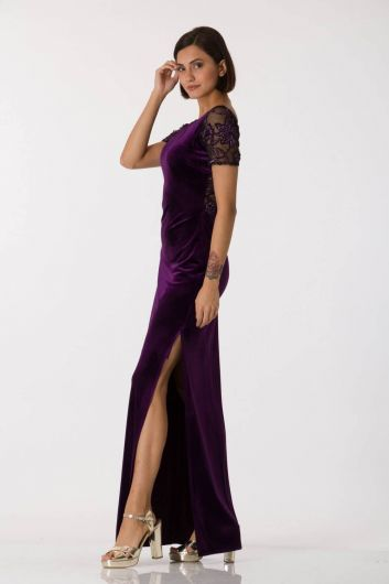 Shecca By Dayi - Short Sleeve Velvet Purple Evening Dress (1)