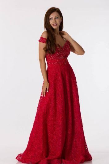 shecca - Красное кружевное вечернее платье с открытыми плечами (1)