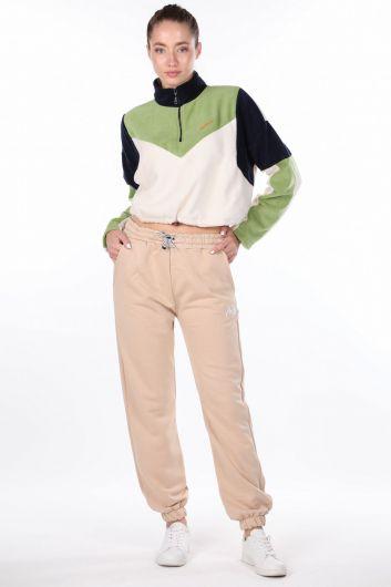 Бежевые эластичные женские спортивные штаны с вышивкой ангела - Thumbnail