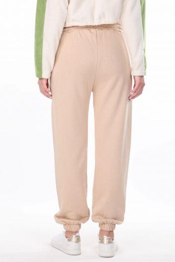 Angel Embroidered Elastic Women's Beige Sweatpants - Thumbnail