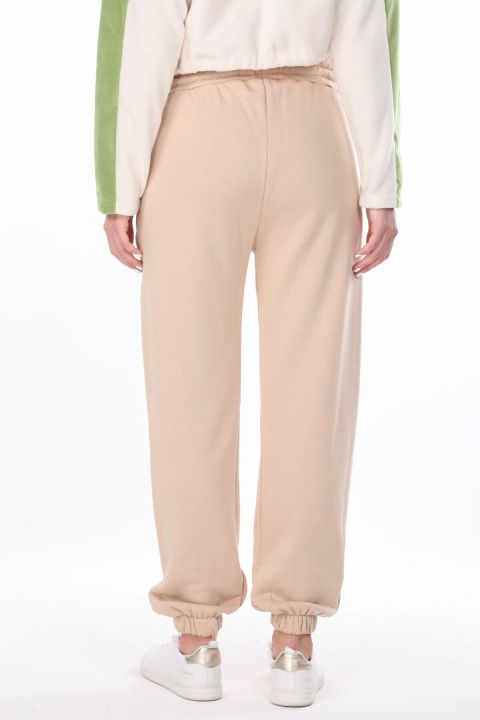 Angel Embroidered Elastic Women's Beige Sweatpants